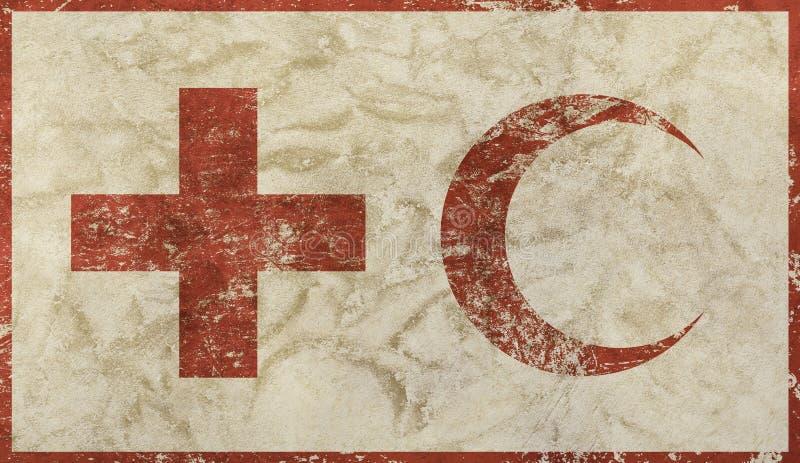 Le vieux grunge s'est fané drapeau de Croix-Rouge et de croissant illustration stock