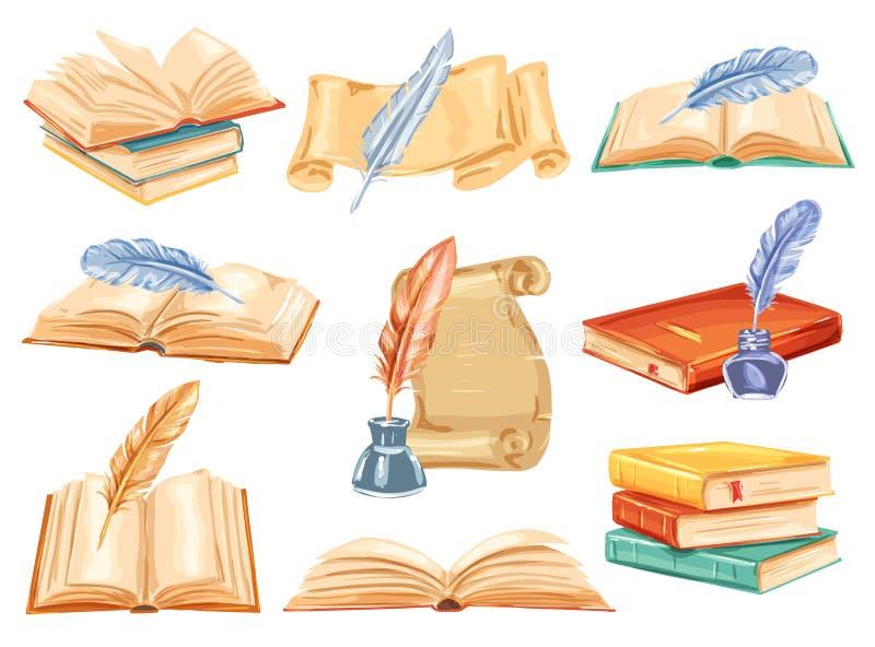 Le vieux livre, le rouleau de papier et la plume parquent l'aquarelle illustration de vecteur