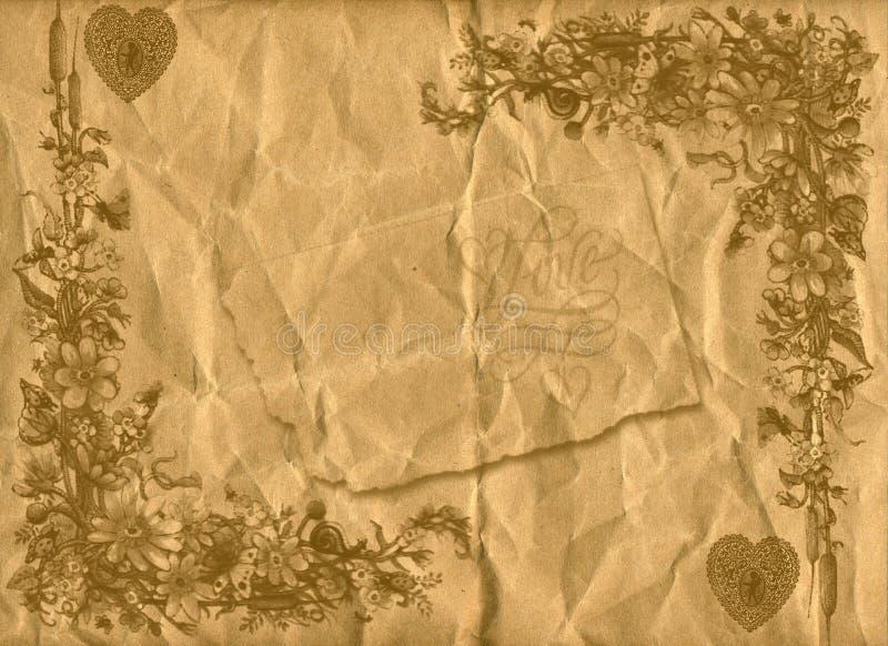 Le vieux papier de type floral donne au fond une consistance rugueuse image stock