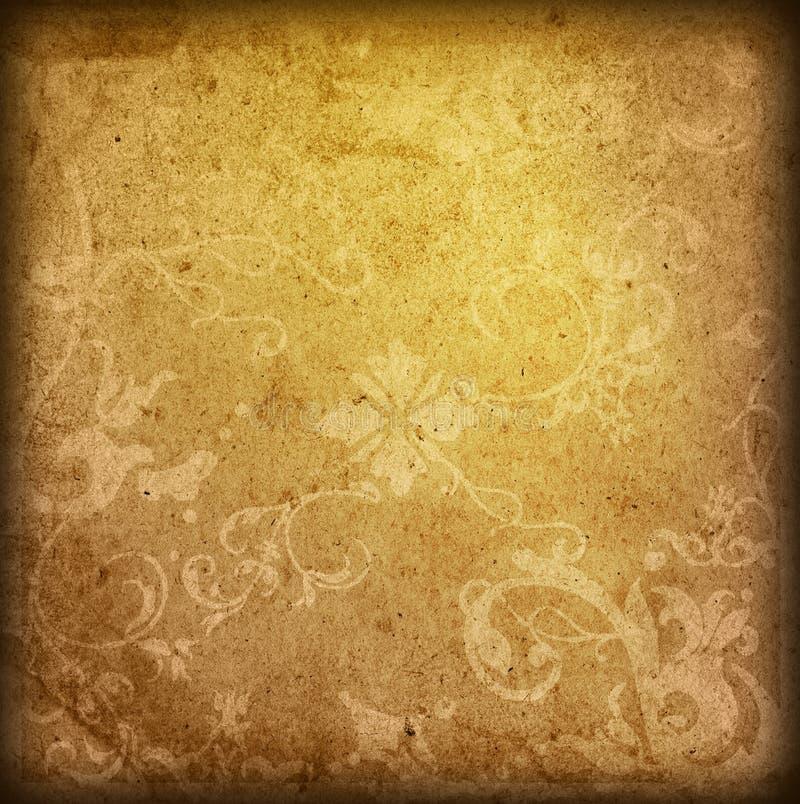 Le vieux papier de type floral donne au fond une consistance rugueuse illustration de vecteur