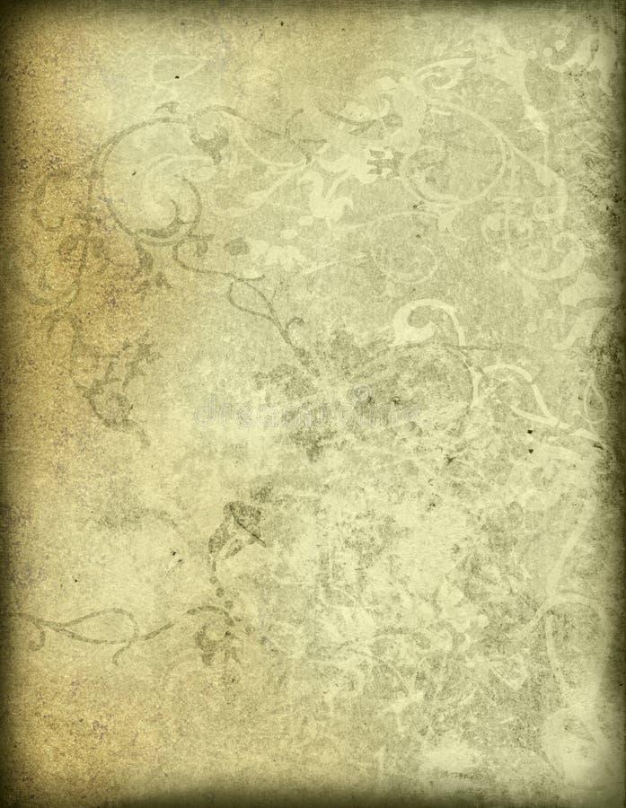 Le vieux papier de type floral donne au fond une consistance rugueuse image libre de droits