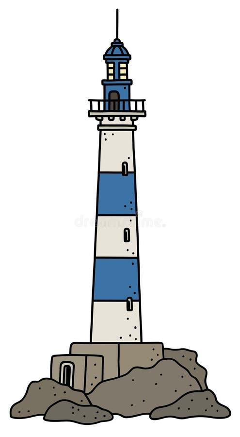 Le vieux phare bleu et blanc illustration libre de droits