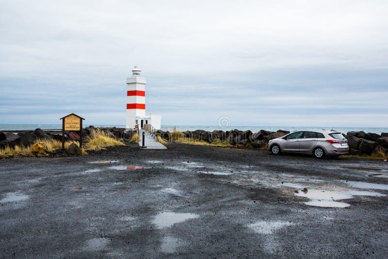 Le vieux phare dans Gardur, Islande Bel horizontal en Islande l'Océan Atlantique image libre de droits
