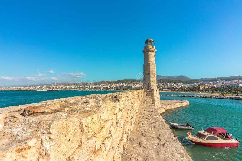 Le vieux phare de Rethymno, Crète, Grèce image libre de droits