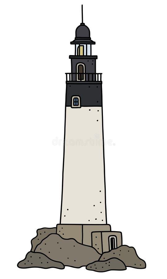Le vieux phare en pierre illustration stock