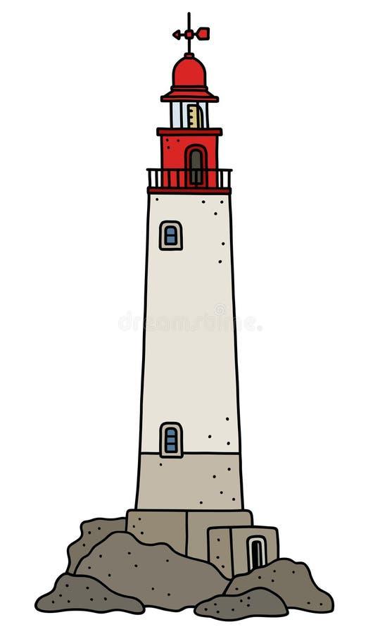 Le vieux phare en pierre illustration libre de droits