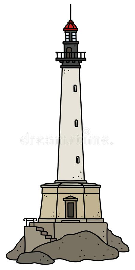 Le vieux phare en pierre illustration stock