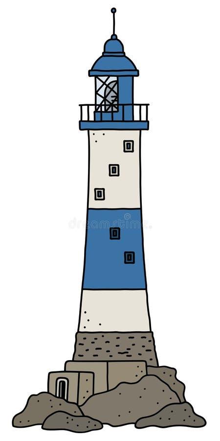 Le vieux phare en pierre bleu illustration de vecteur