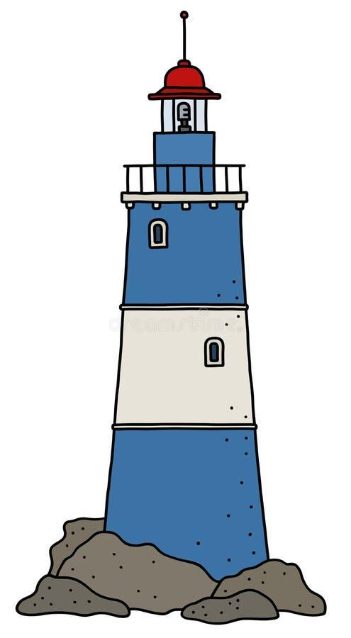 Le vieux phare en pierre bleu illustration libre de droits