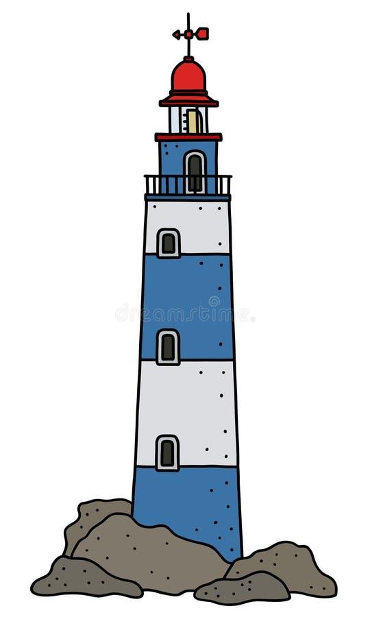 Le vieux phare en pierre bleu et blanc illustration de vecteur