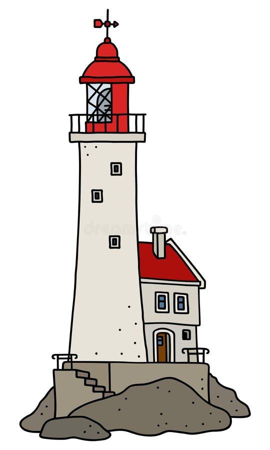 Le vieux phare en pierre drôle illustration libre de droits