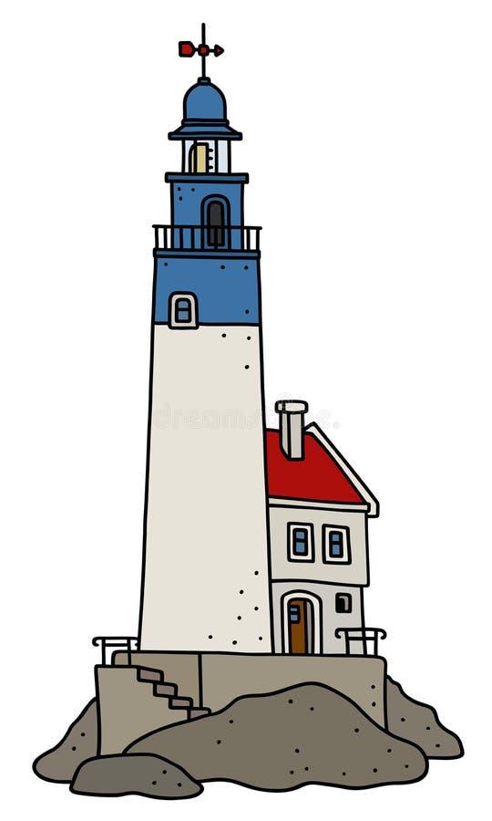 Le vieux phare en pierre drôle illustration stock