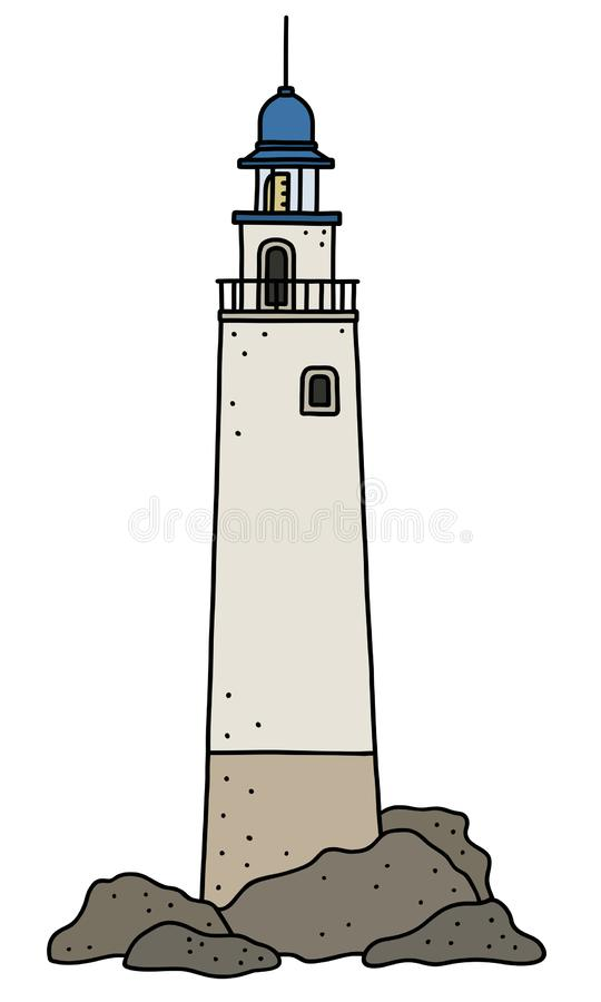 Le vieux phare en pierre drôle illustration de vecteur