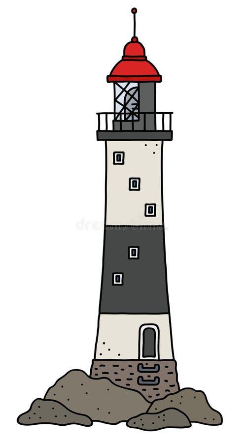 Le vieux phare en pierre noir et blanc illustration de vecteur