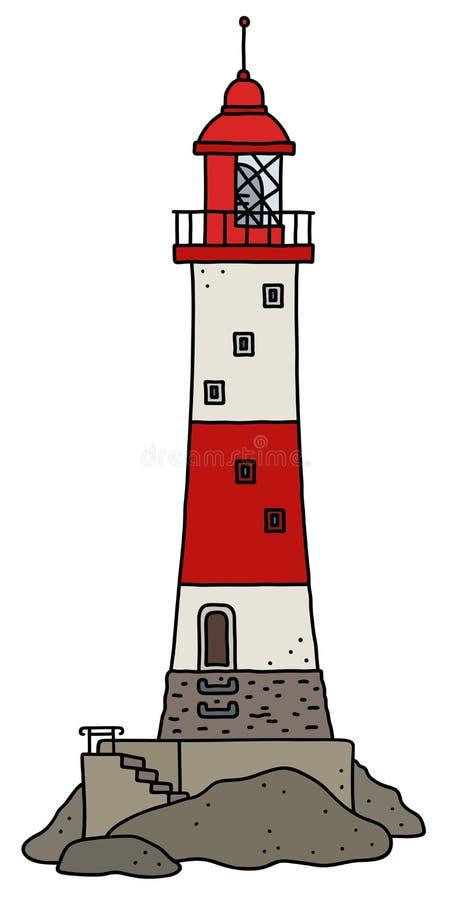Le vieux phare en pierre rouge illustration libre de droits