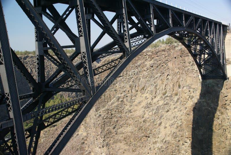 Le vieux pont en fer au-dessus du courbé les déchirent photographie stock libre de droits