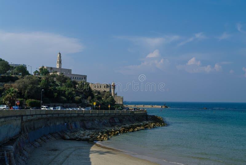 Le vieux port avec la pêche se transporte dans Jaffa Tel Aviv image libre de droits