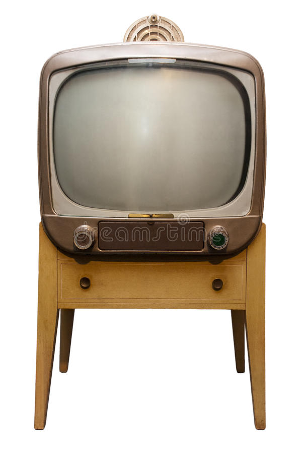 Le vieux rétro positionnement de console du cru TV, années '50 a isolé image stock