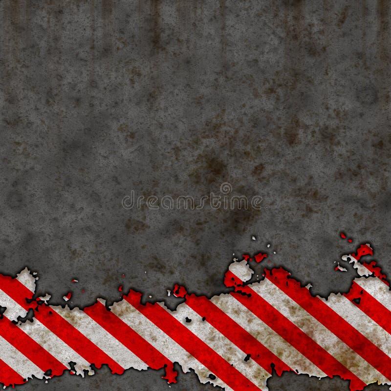 Le vieux risque rouge et blanc barre le mur de signe [01] illustration libre de droits