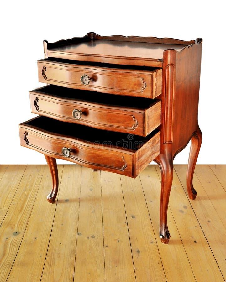 Le vieux support de chevet sur un plancher en bois avec le fond blanc photographie stock