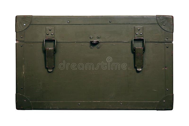 Le vieux tissu militaire de serrure de munitions de stockage de vert de boîte de vintage raye les hommes cassés sales d'armes de  images stock