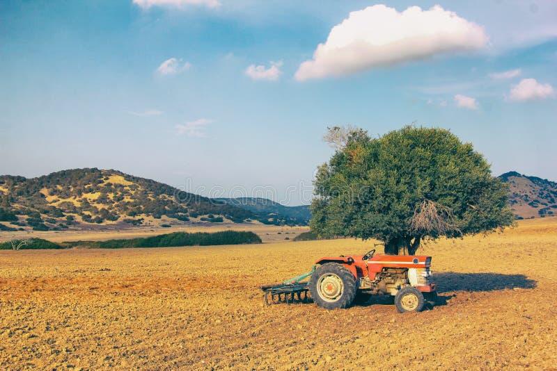 Le vieux tracteur se tient près d'un arbre isolé au milieu d'un champ labouré sur un fond des collines Campagne en Chypre images libres de droits