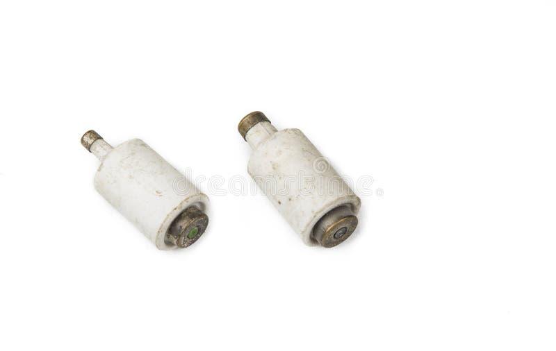 Le vieux type fusibles diazed utilisé pour protéger l'installation pour la surcharge électrique image stock