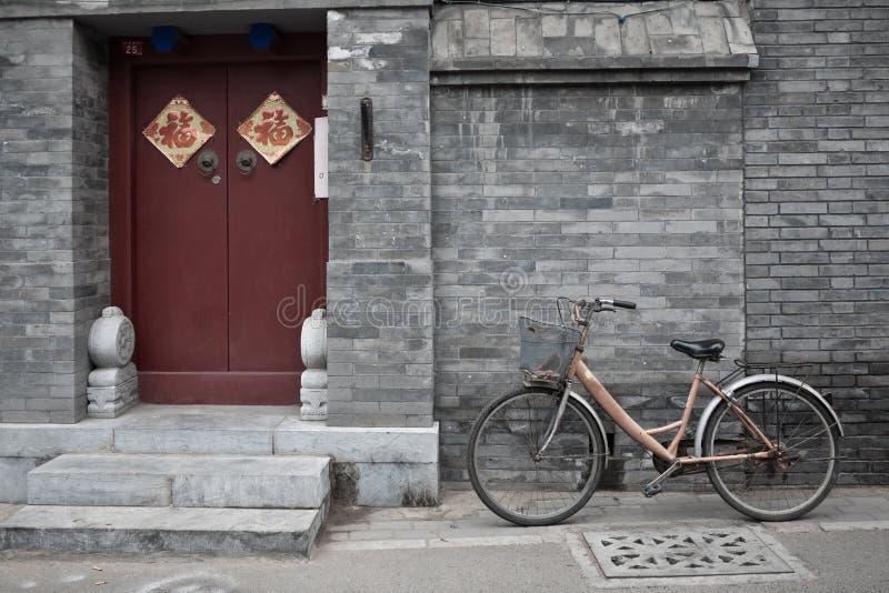 Le vieux vélo de Pékin Hutong photos libres de droits