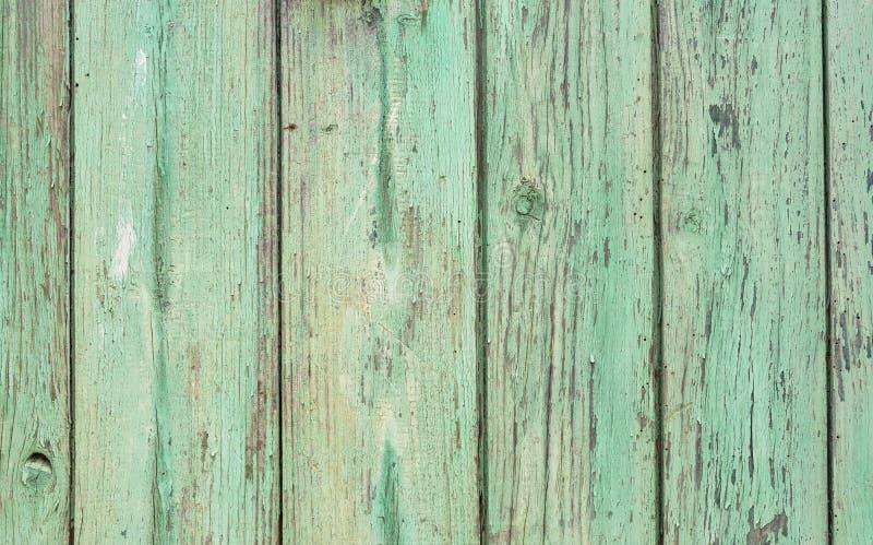 Le vieux vert superficiel par les agents rustique de menthe a coloré la texture en bois photographie stock libre de droits