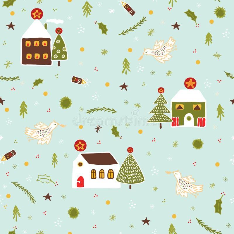 Le village de Noël loge le modèle de vecteur illustration libre de droits
