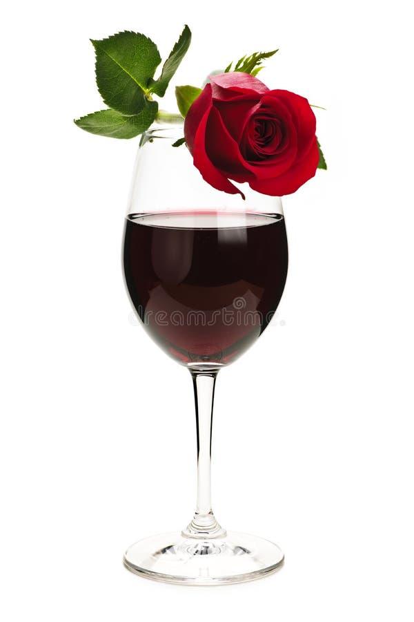 Le vin avec le rouge s'est levé images libres de droits