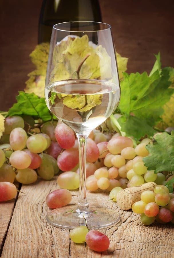Le vin blanc sec en verre, toujours la vie dans le style rustique, vintage courtisent photo stock