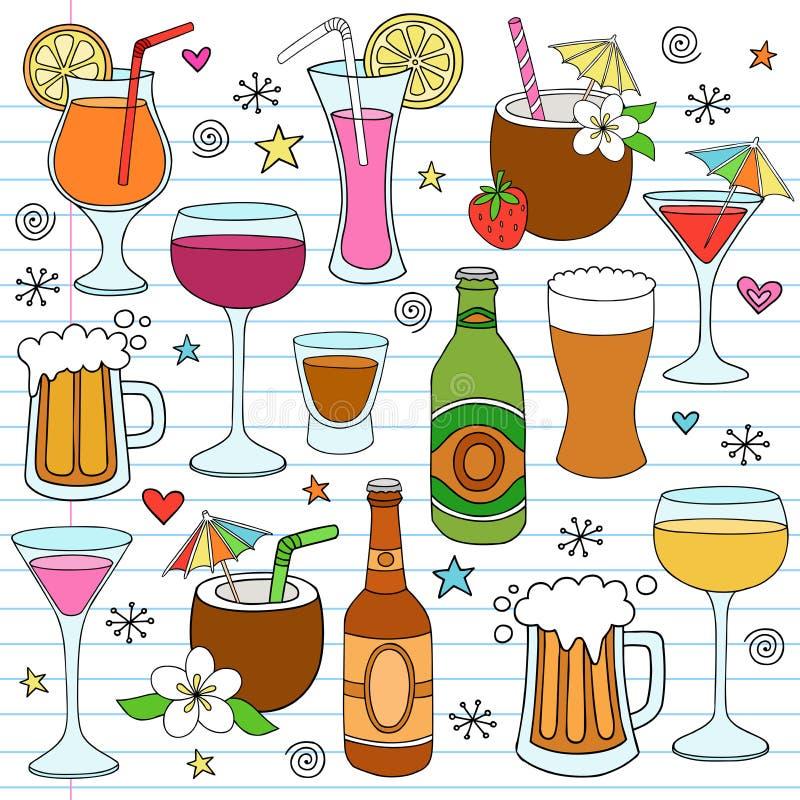 Le vin de bière et les boissons mélangées gribouillent des éléments de conception illustration de vecteur