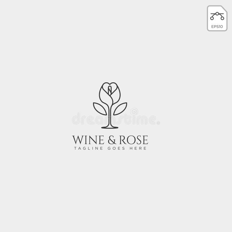 le vin et le calibre rose de logo ont isolé, des éléments d'icône illustration libre de droits