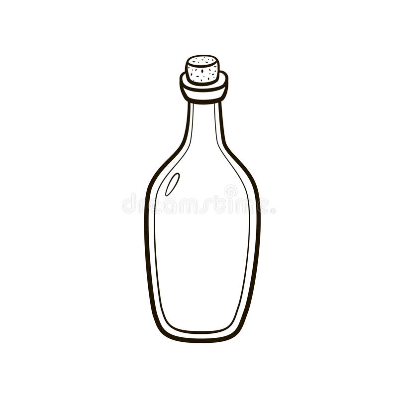 Le vintage démodé a bouché le dessin de main de bouteille sur le fond blanc photographie stock libre de droits