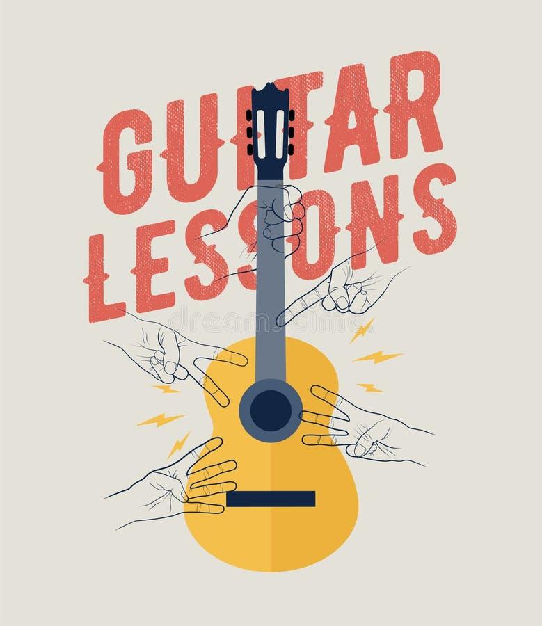 Le vintage a dénommé le calibre de bannière d'insecte d'affiche de leçons de guitare Perfecto pour vos classes de guitare Illustr illustration stock