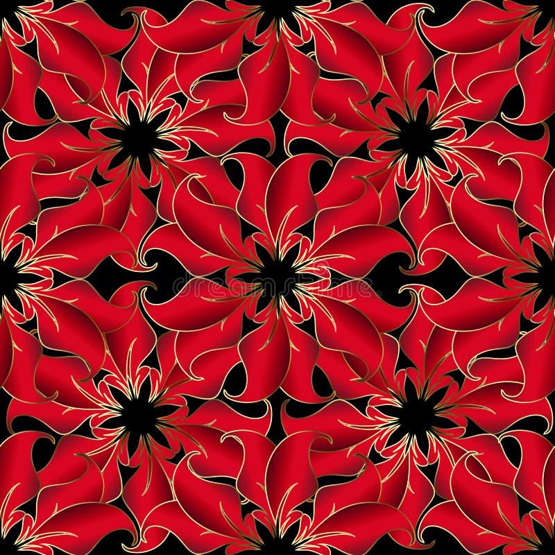 Le vintage 3d rouge fleurit le modèle sans couture de vecteur Bel orname illustration de vecteur