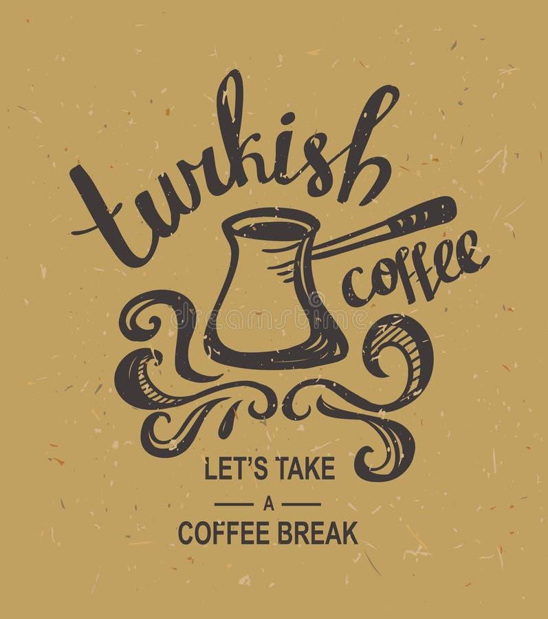 Le vintage de hippie a stylisé le lettrage avec du café turc sur le carton illustration stock