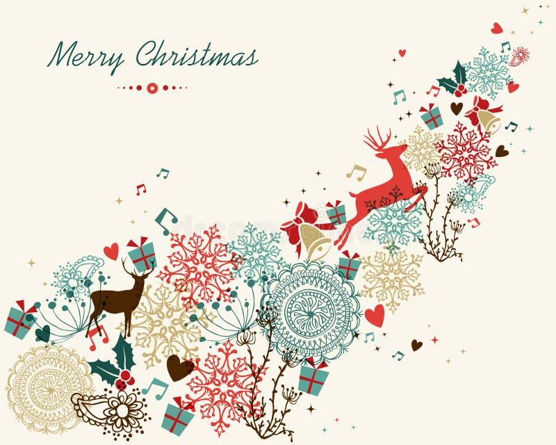Le vintage de Joyeux Noël colore le transparent illustration libre de droits
