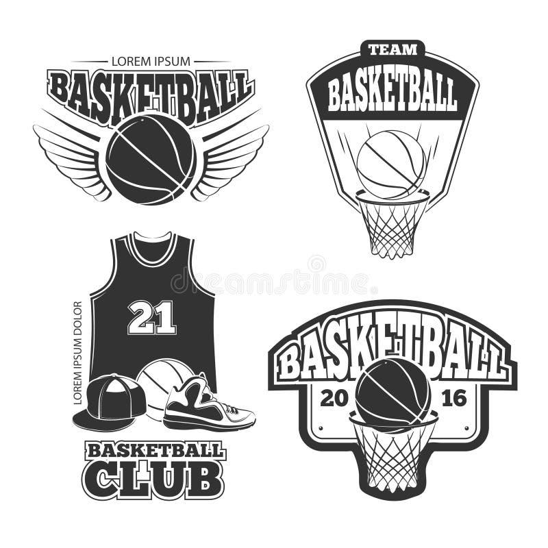 Le vintage de vecteur de basket-ball de vintage symbolise, des labels, insignes, logos réglés illustration libre de droits
