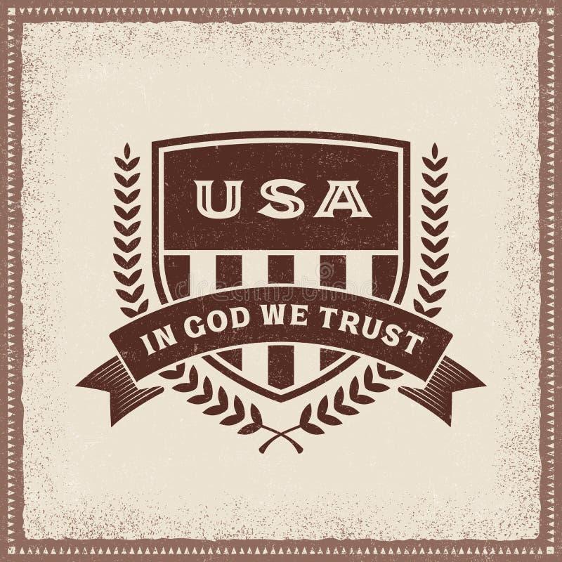 Le vintage Etats-Unis dans Dieu nous faisons confiance au label illustration libre de droits