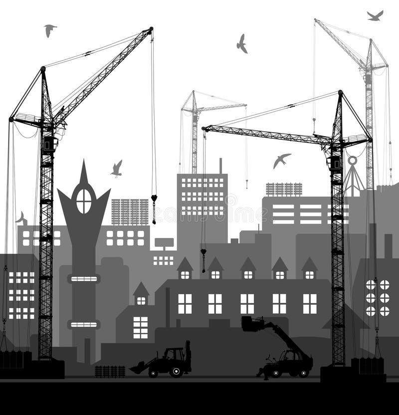 Le vintage européen industriel a dénommé la ville en construction sur le fond rouge lumineux de coucher du soleil illustration libre de droits