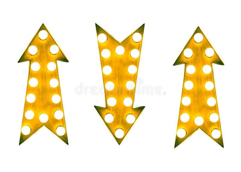 Le vintage jaune à travers la flèche signe avec les ampoules sur un fond blanc illustration de vecteur