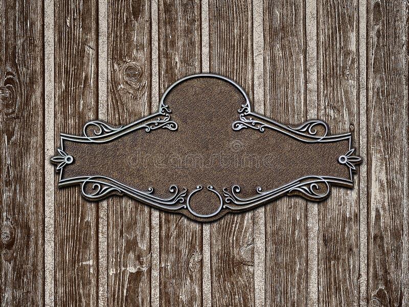 Le vintage a moulé la plaque de métal sur le vieux plan rapproché en bois de texture photo stock