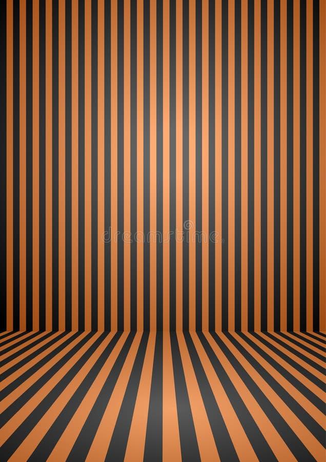 Le vintage orange et noir abstrait de couleur a barré la pièce, fond pour le thème de Halloween illustration stock
