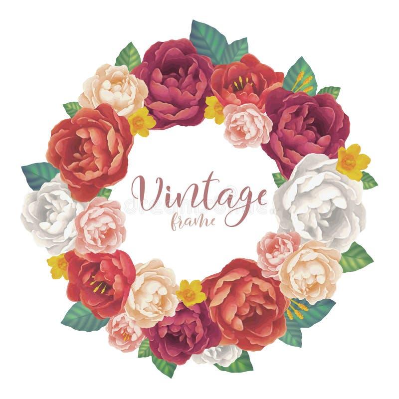 Le vintage rose et les pivoines fleurit le cadre rond de vecteur sur le fond blanc illustration de vecteur