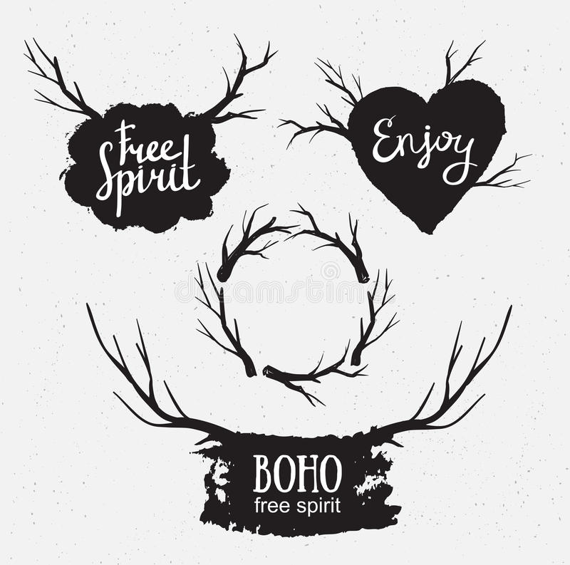 Le vintage tiré par la main de hippie a stylisé l'ensemble de vecteur d'éléments rustiques de logo illustration libre de droits