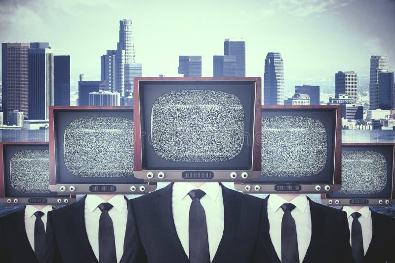 Le vintage TV a dirigé des hommes d'affaires illustration stock