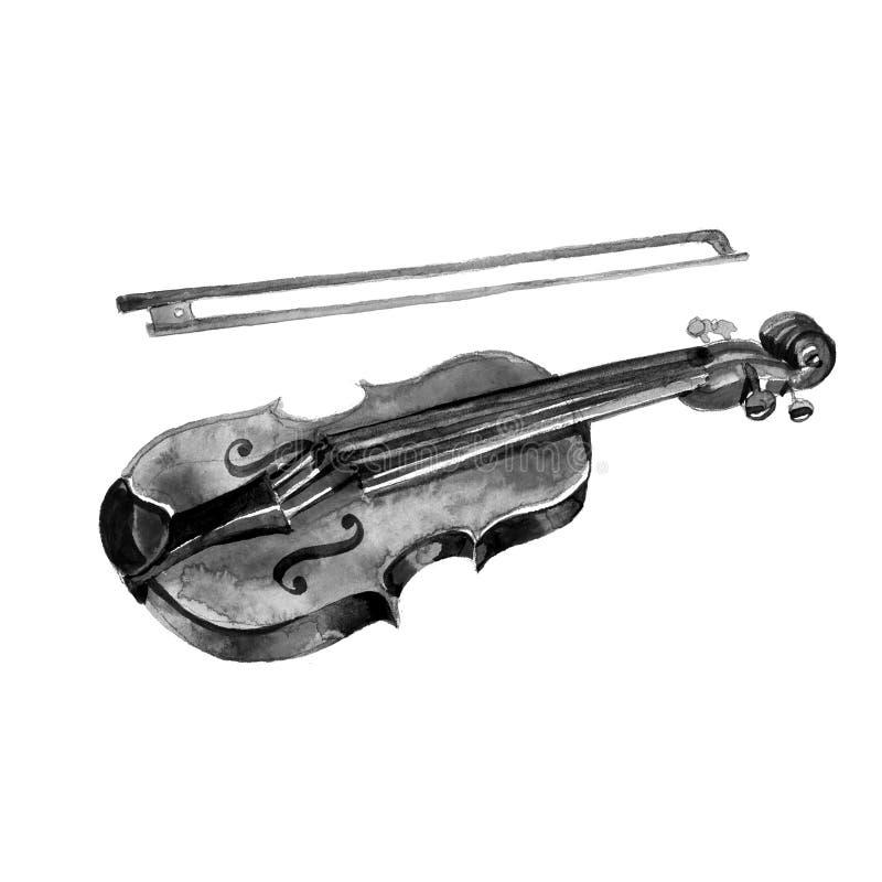 Le violon noir a détaillé le croquis, d'isolement sur le blanc photo stock