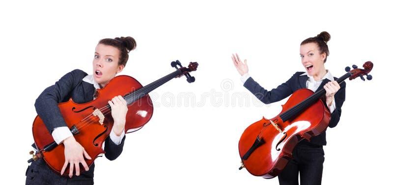 Le violoneur de femme d'isolement sur le fond blanc photographie stock
